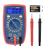 Digital Multimeters, Dinofire Manual-Ranging Electronic Amp Volt Ohm Voltage Tester with Diode and Continuity Test Meter, Backlight LCD Display (Red)