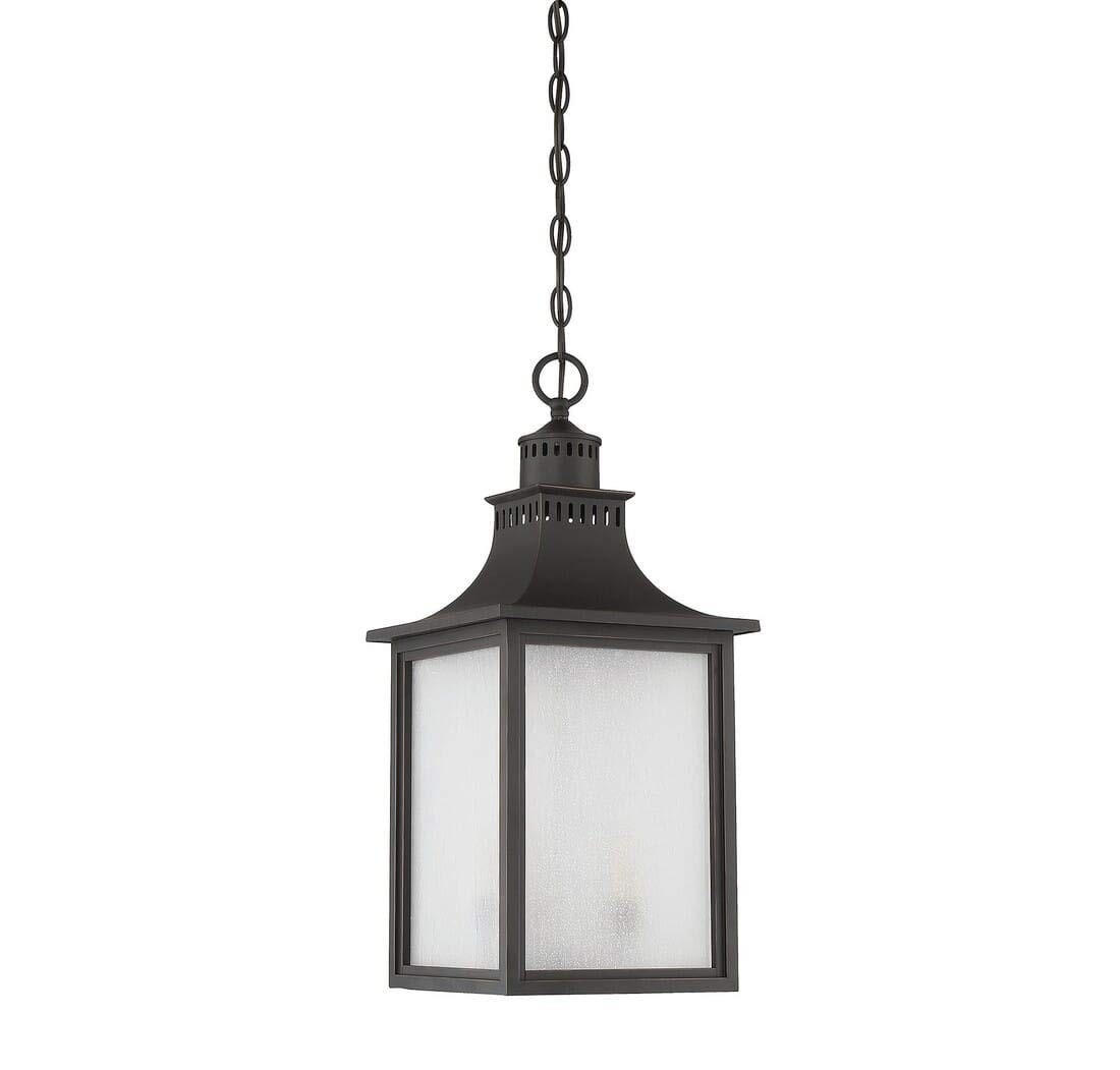 Savoy House Lighting 5-256-25 Monte Grande Collection 3-Light Outdoor Hanging Entry Lantern, Slate Finish with Pale Cream Seeded Glass by Savoy House