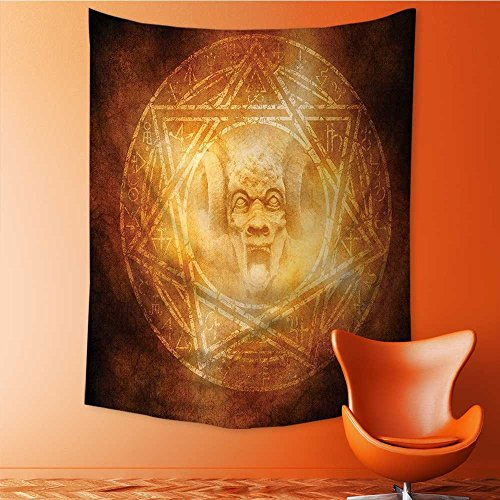SOCOMIMI Elastic Fabric Tapestry,Demon Trap Symbol Logo Ceremony Creepy Ritual Paranormal Design Orange Home Decor 39.3L x 59W Inches by SOCOMIMI