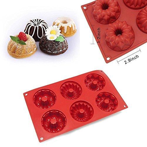 6 Cavity Silicone Mold Mini Bundt Savarin Cake Muffin Chocol