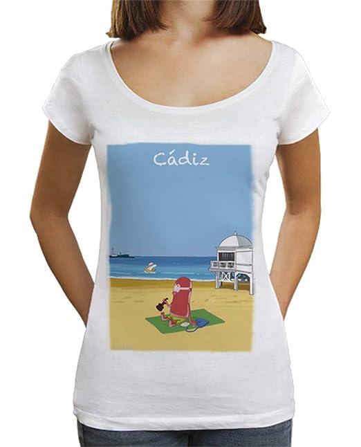 latostadora - Camiseta Playa de la Caleta by Calvichis para Mujer Blanco S: hola: Amazon.es: Ropa y accesorios