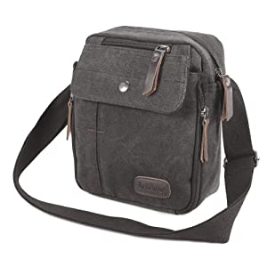 The Pecan Man Black Men's Vintage Canvas Messenger Shoulder Bag Travel Hiking Satchel Military Shoulder Bag