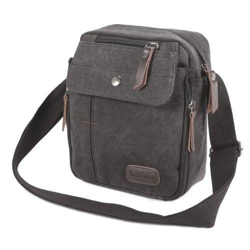The Pecan Man Black Men's Vintage Canvas Messenger Shoulder Bag Travel Hiking Satchel Military Shoulder Bag