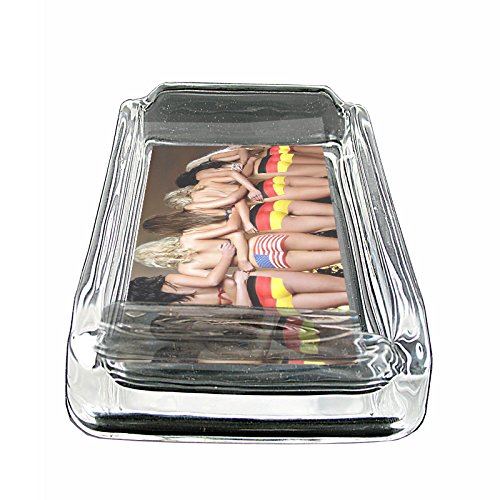 German Pin Up Girls Germany S11 Glass Square Ashtray 4