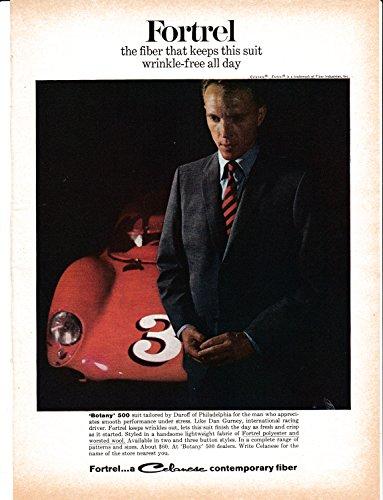 Race Car Driver Frame (1965 Dan Gurney Race Car Driver -Original Magazine Ad Fortrel Automobile Brabham)