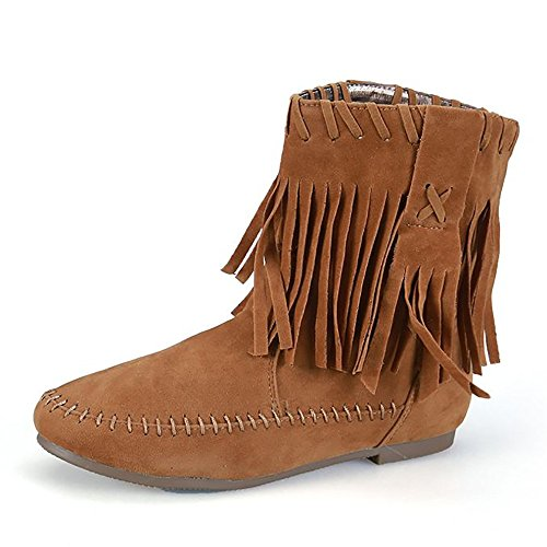 Meeshine Womens Fringed Tassel Suede Moccasin Boots Tan US 10