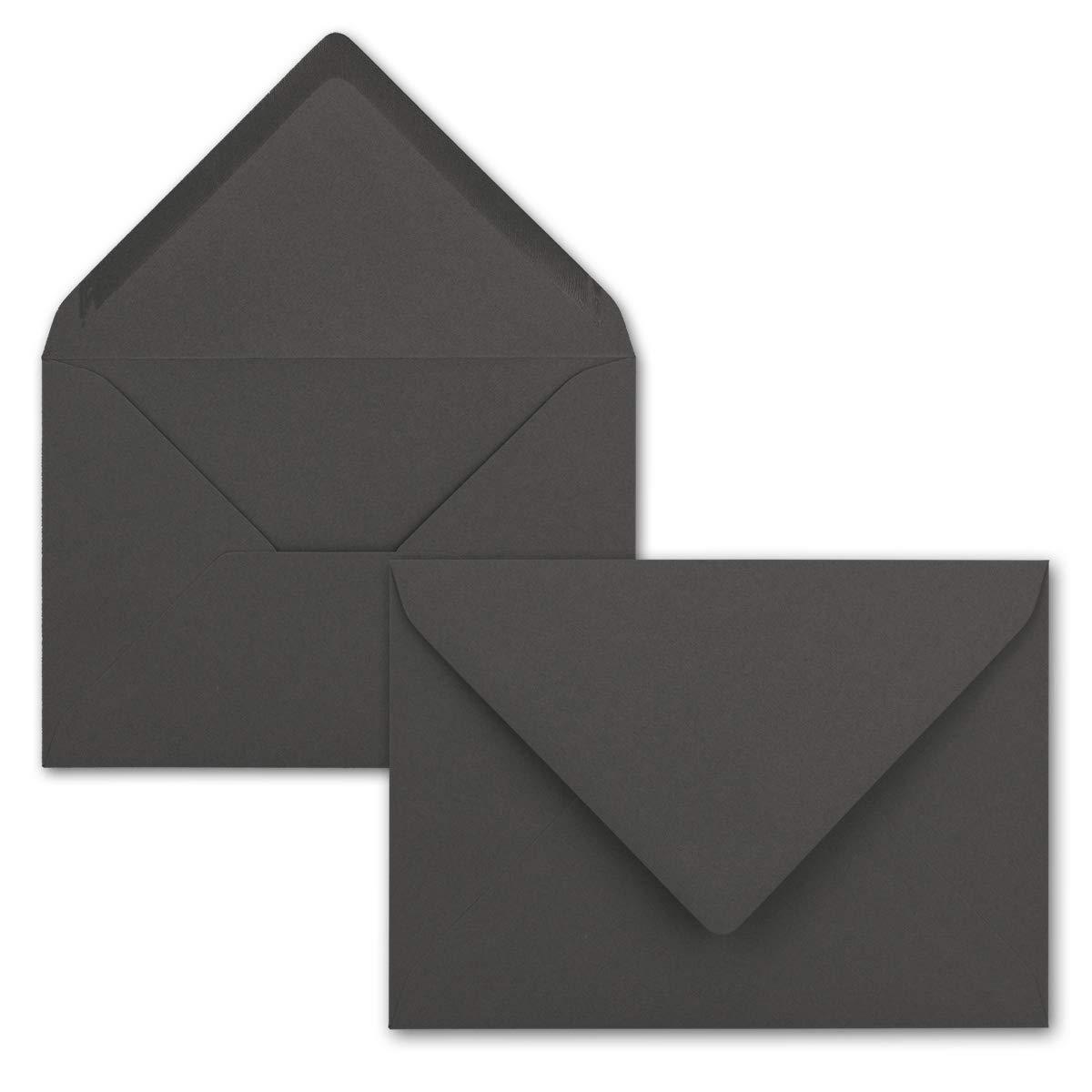Serie FarbenFroh/® DIN C6-114 x 162 mm Kuverts mit Nassklebung ohne Fenster f/ür Gru/ß-Karten /& Einladungen Graphit//Dunkel-Grau 75 Brief-Umschl/äge