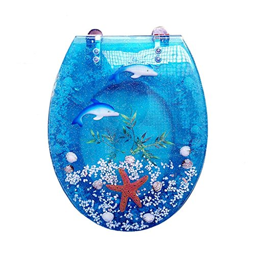 se Close Resin Toilet Seat with Cover, 3D Effects Heavy Duty Toilet Lid with Dolphin, Real Seashell, Sands and Starfish for U/V/O Type Toilet, Elongated (Crystal Blue) (Novelty Toilet Seats)