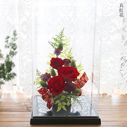 神楽箱 (真紅花) プリザーブドフラワー 母の日 ギフト 誕生日 結婚祝い B074NXGP2C  真紅花