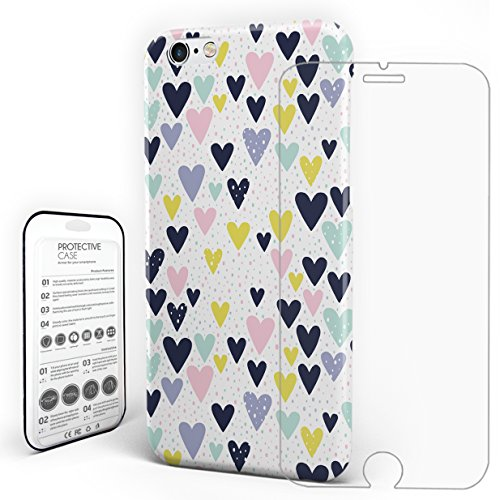 (Protective Phone Case Hand-Drawn Heart-Shaped Portfolio Background  Compatible iPhone 7 Case with a Glass Screen)