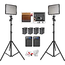Aputure Amaran AL-528S AL-528W LED Video light Panel LED lighting Kit with Light Stand and Battery Pack Battery Charger-Pack of 2