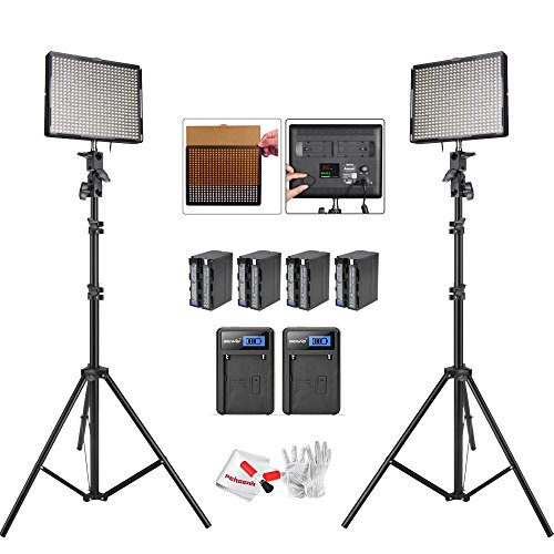 Aputure Amaran AL-528S AL-528W LED Video light Panel LED lighting Kit with Light Stand and Battery Pack Battery Charger-Pack of 2 by Aputure