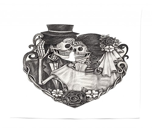 Lunarable Tattoo Tapestry King Size, Skull Wedding Day Dead Couple Bride Groom Endless Love Vintage Artwork Print, Wall Hanging Bedspread Bed Cover Wall Decor, 104 W X 88 L Inches, -