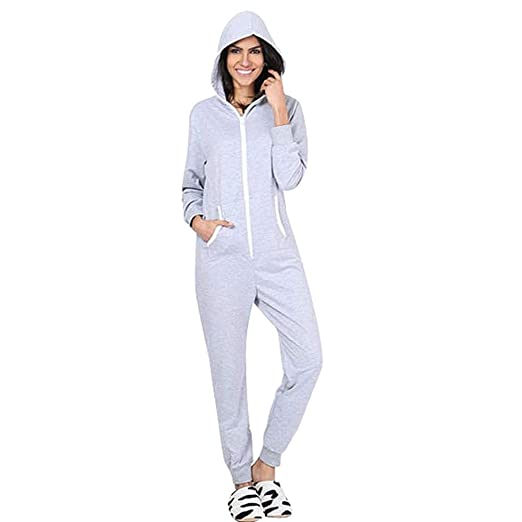 9fb5b5e91dcf Usstore Womens Hoodie Pajamas Spring Winter Casual Long Sleeve Zipper  Siamese Sweatshirt Jumpsuit Home Outfits (