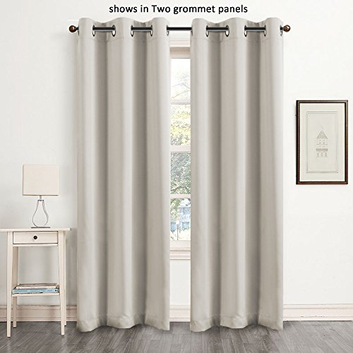 Flamingo P Blackout Faux Silk Home Fashion Thermal Insulated Solid Grommet Curtains for Bedroom (Single Panel, 42 Inch Wide by 84 Inch Long, Ivory) (Curtain Double Panels compare prices)
