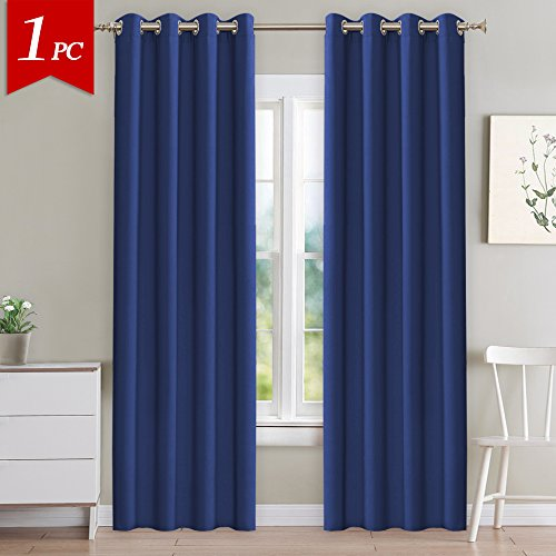 NICETOWN Blackout Navy Curtain Panel - Light Blocking Room Dakening Drape/Drapery for Nursery Room, Ring Top, 52 inch wide by 84 inch long, 1 PCS - Top Curtain Panel