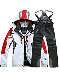lobezm Men's Winter Waterproof Windproof Coat Pants Ski Suit Jacket Snowboard