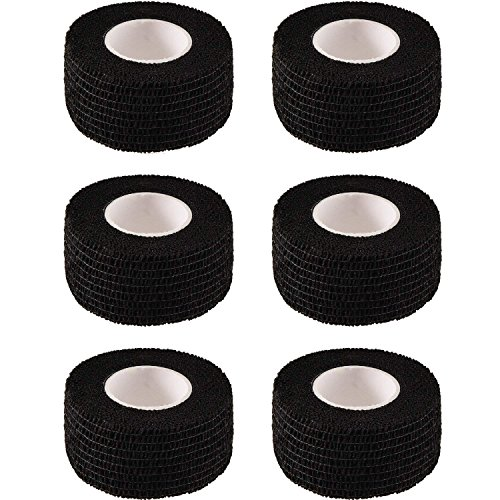 TecUnite 6 Pieces Self-Adhesive Bandages Elastic Cohesive Wrap Tape for Sports Swelling Sprains Soreness on Wrist and Ankle (Black, 2.5 cm Width)
