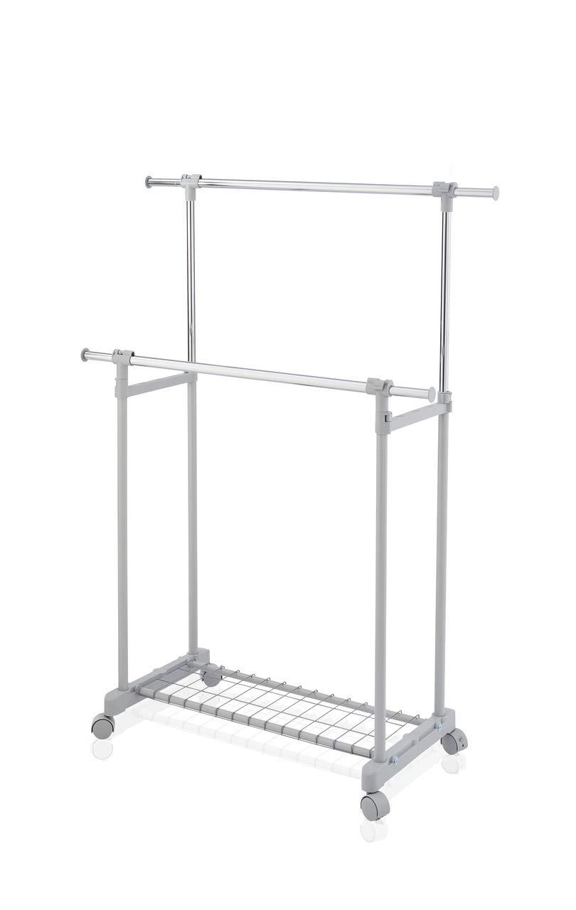 Leifheit Mobile Clothes Rack, Aluminum, Silver, 85.5 x 26 x 6.2 cm