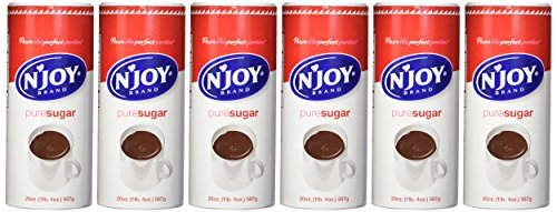 N'Joy Sugar Canister, 20 Ounce (Pack of 6) - 100% Pure Granulated Sugar, Easy Pour Lid, Bulk Size