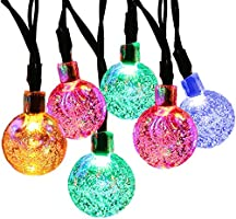 SUPSOO Solar String Light 20ft 30 LED Crystal Ball Waterproof String Lights Solar Powered Lighting for 8 Modes Lighting...