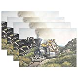 WARMFM Ethel Ernest Cool Steam Train and Railway Painting Heat-Resistant Placemats, Polyester Tablemat Place Mat for Kitchen Dining Room Set of 4