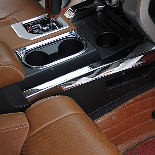 Justautotrim Chrome Side Center Console Panel Moulding Cover Trim for Toyota Tundra 2014 2015 2016 2017 2018 2019