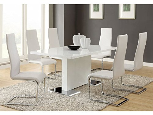 Faux Leather Dining Chairs Chrome and White (Set of 4) by Coaster Home Furnishings (Image #4)