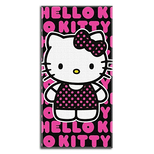 Hello Kitty - Standing In Words Velour Beach - Hello Towels Bath Kitty