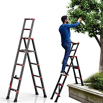 6-Foot Step Ladder, 5+7 Telescopic Aluminum Ladder Multi Position, Adjustable and Folding Extension Ladder A-Frame with Hand Rails and Safety-Lock, Anti-Slip Pedal Lightweight, 330 Lbs Capacity