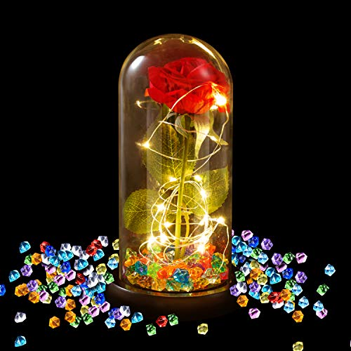 Aokebeey Galaxy Red Rose Flower with Light in Glass Dome on Black Base Gift for Valentine Anniversary Wedding (Diamond) (Flower In A Glass Beauty And The Beast)
