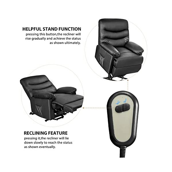 Superb Merax Power Recliner And Lift Chair In Black Pu Leather Lift Recliner Chair Heavy Duty Steel Reclining Mechanism Gmtry Best Dining Table And Chair Ideas Images Gmtryco