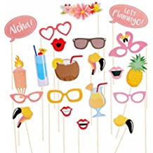 Couples Hawaiian Photo Booth Props Kits- AxiEr Beach Pool parties,Holiday,Summer Parties,Wedding,Birthdays,Graduation Party 21 Packed