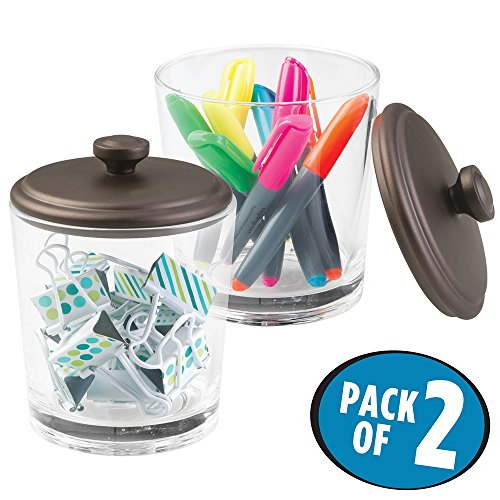 2 Pack Executive Glasses (mDesign Office Supplies Desk Organizer, Canister for Paper Clips, Markers, Highlighters, Pens - Pack of 2, Clear/Bronze)