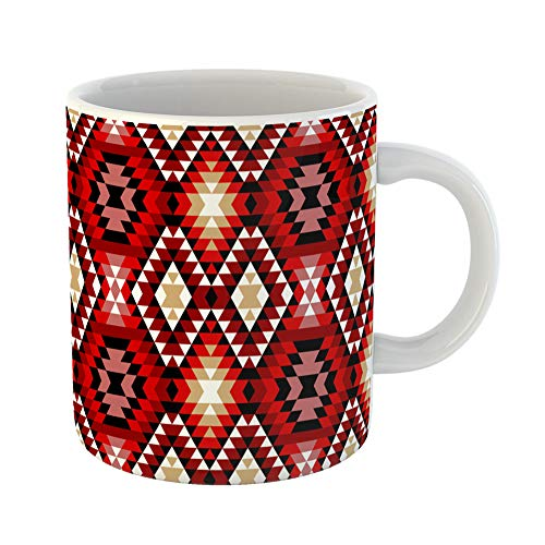 Emvency Funny Coffee Mug Beige Kilim Colorful Red White and Black Aztec Ornaments Geometric Ethnic Brown Geo 11 Oz Ceramic Coffee Mug Tea Cup Best Gift Or Souvenir