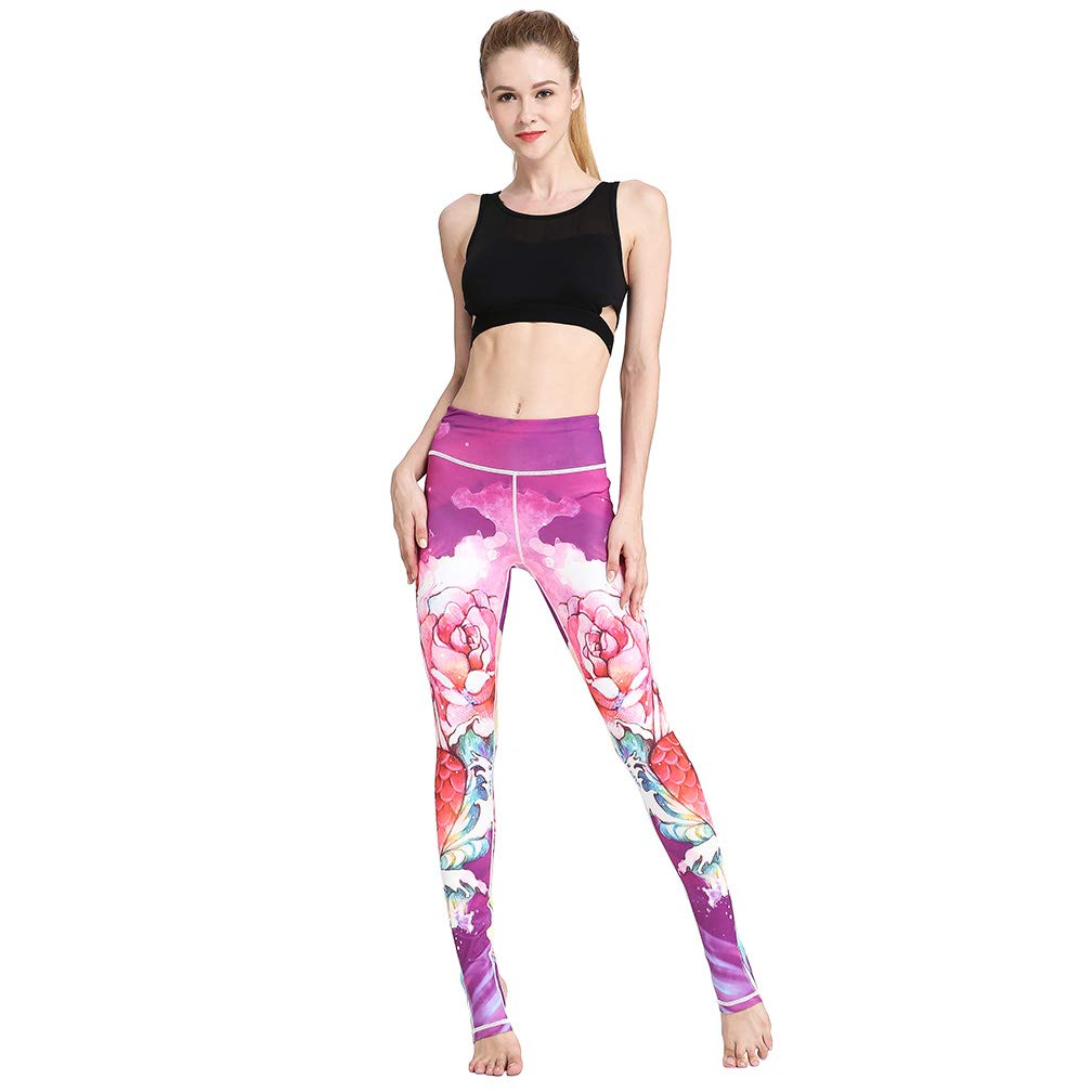 TERODACO Over The Heel Yoga Pants Women Printed Stirrup Pants High Waist Yoga Leggings