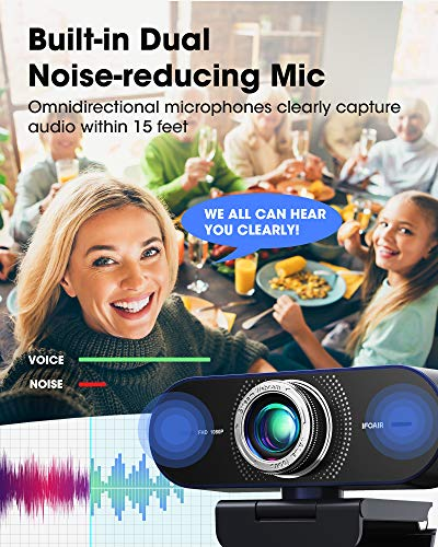 IFOAIR 1080P Webcam with Microphone, Pro Streaming Webcam for PC/Laptop/Smart TV, Light Correction Web Camera 110° for Video Calling/Conference/Gaming