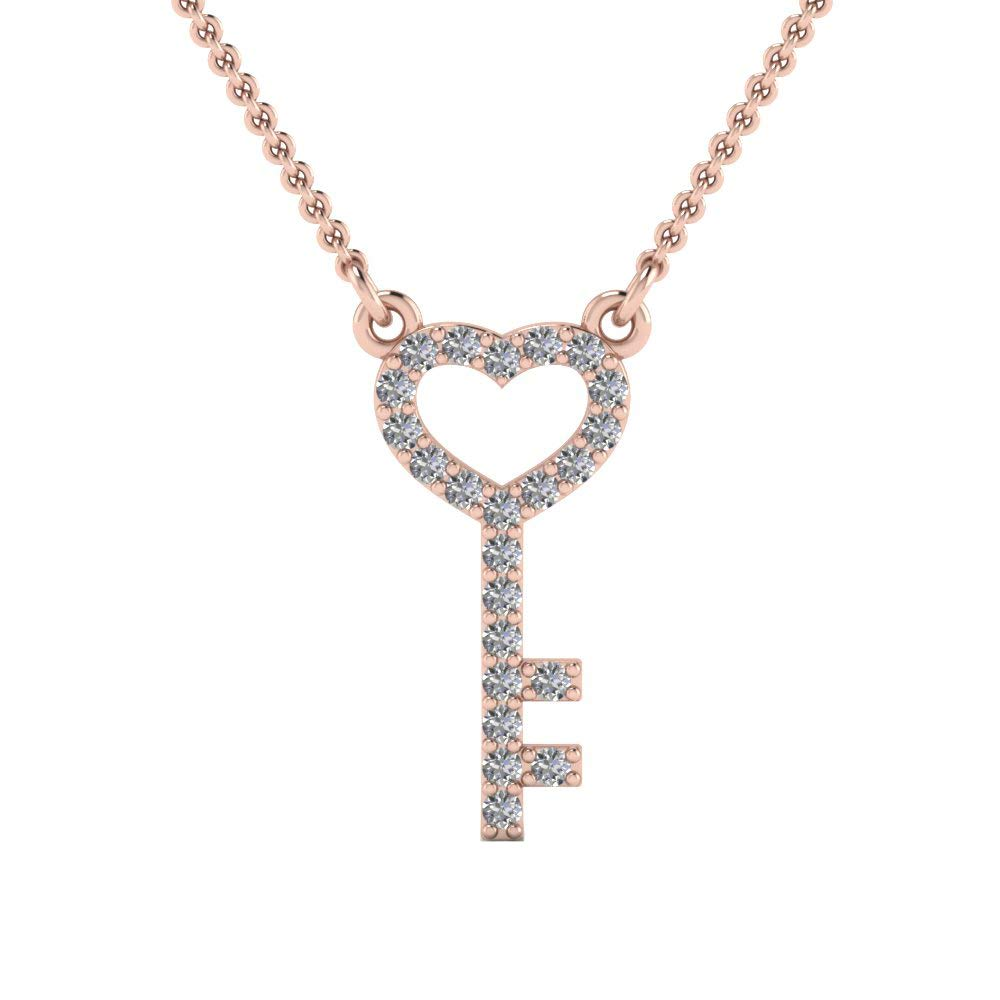 Dividiamonds Heart Key Pendant with 18 Chain 0.16 Ct Round Cut Clear CZ Diamonds in 14K Gold Plated .925