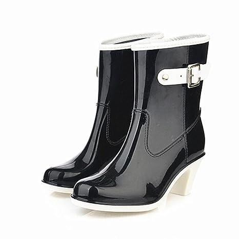 release date bf4ed 160db Y&JAXIE Stivali da pioggia con tacco alto / sezione donna con fibbia in  tubo stivali da pioggia / scarpe di gomma scarpe da ginnastica , black , 40