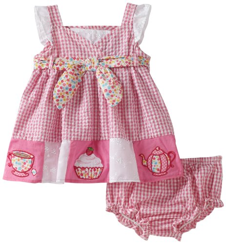 Youngland Baby Girls' Tie Waist Seersucker Dress With Eyelet Flutter Sleeve And Diaper Cover