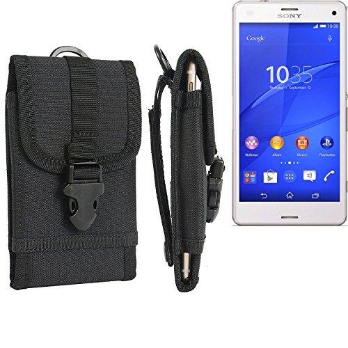 bolsa del cinturón / funda para Sony Xperia Z3 Compact, negro   caja del teléfono cubierta protectora bolso - K-S-Trade (TM)