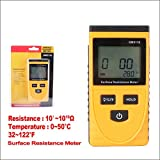 Surface Resistance Meter, Abuycs LCD Handheld Earth Resistance Tester Measuring Instrument Static Detector High-Precision Digital Electrostatic Analyzer