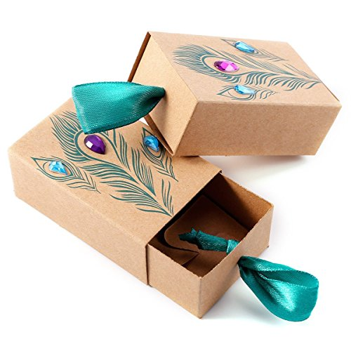 TOOGOO Peacock feather candy drawer box design wedding supplies artificial rhinestone kraft paper gift box gift box