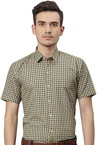 GHPC by Arihant Men's Checkered Half Sleeves Regular Fit Formal Shirt
