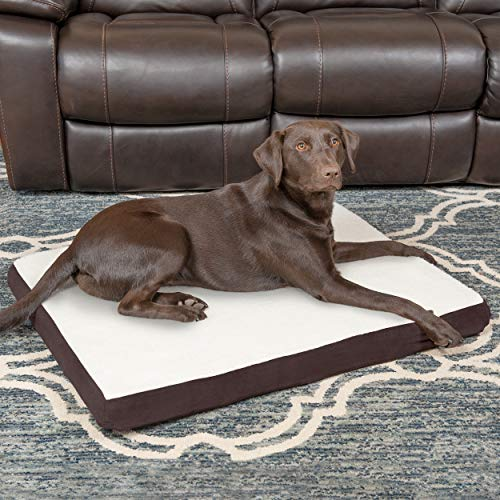 Furhaven Pet Dog Bed | Deluxe Orthopedic Mat Sherpa & Suede Traditional Foam Mattress Pet Bed for Dogs & Cats, Espresso, Large