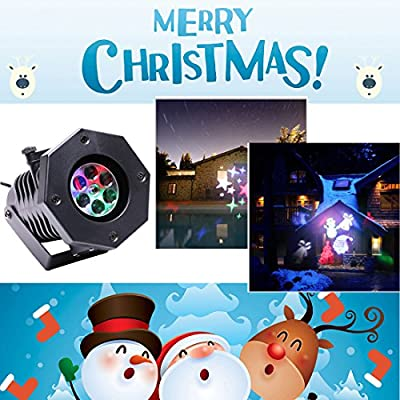 Projector Light with 12 Patterns Gobos Replaceable Slides LED Party Light Waterproof Projector Spotlight for Halloween, Christmas, Party, Valentine's Day,Home Decoration by U`King