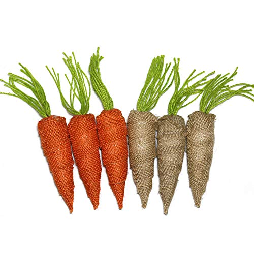 WsCrofts 6 Pcs Easter Carrots Ornaments - 5.1 Inch 2 Color Burlap Carrots for Spring Easter Basket Fillers Holiday Home Decoration