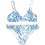 ZAFUL Women's Padded Push up Cami Bright Print Bikini Swimsuits Two Pieces(M)