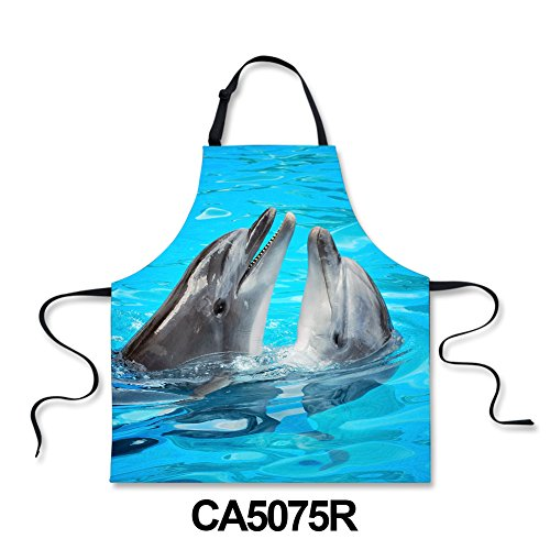 HUGS IDEA Cute Dolphin Print Kitchen Chef Bib Apron Blue Durable Aprons for Cooking Baking Crafting ()