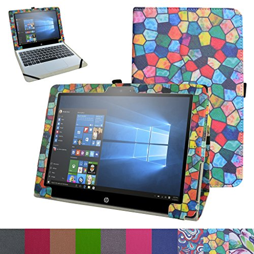 """HP Pavilion X2 12 Case,Mama Mouth PU Leather Folio 2-folding Stand Cover for 12"""" HP Pavilion x2 12 12-b020nr 12-b010nr Windows 10 Tablet 2016,Stained Glass -  Bigmouthstore, 6431159"""